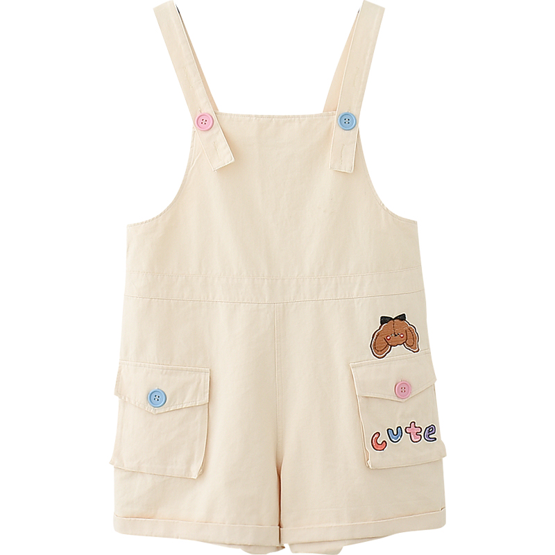 Summer Soft Girl Cute Rompers Women <font><b>Kawaii</b></font> Cartoon Embroidery Beige Overalls Teens Cargo Shorts Harajuku Khaki Casual <font><b>Jumpsuits</b></font> image
