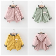 Spring Autumn Casual Baby Girl Striped Printing Long Sleeve Hooded Fashion Coat Kids Solid Color Outerwear