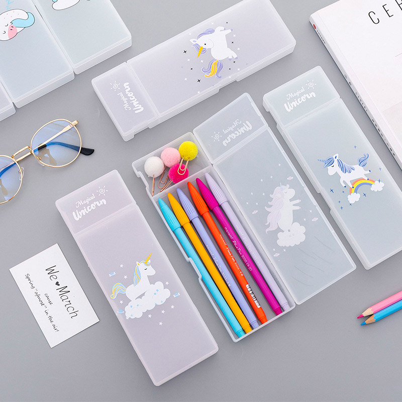 Big Zipper Unicorn Pencil Case Big capacity plastic School Pencil Box Storage bag pen Pouch School Supplies Stationery Estuches in Pencil Cases from Office School Supplies
