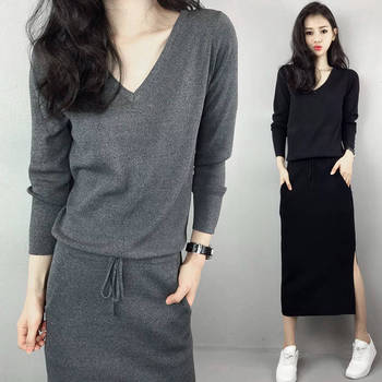 Autumn Dress Korean Style V-neck Long Sleeve Elegant Lace-up Slim Mid-calf Black Vestidos Casual Solid Split Pockets Shirt Dress rolled cuff pockets side split curved dress