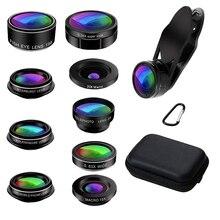 Новый объектив для камеры телефона, 9 в 1, набор объективов для телефона X Xs Max 8 7 Plus Samsung S10 S10E S9 S8