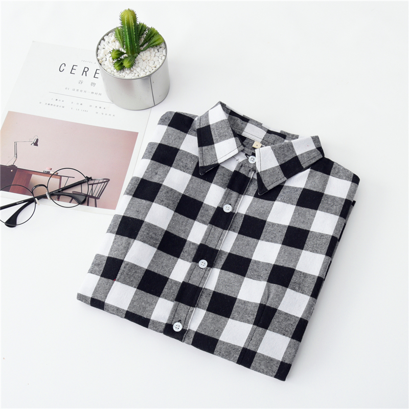 2020 New Women Blouses Brand New Excellent Quality Cotton 32style Plaid Shirt Women Casual Long Sleeve Shirt Tops Lady Clothes 15