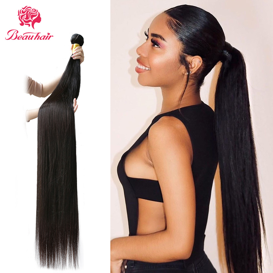 Human Hair Bundles Malaysian Straight Human Hair Extensions Double Weft 1/3/4 Pcs Hair  Black Women Black Girl 8