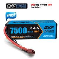 DXF-batería Lipo 2S 3S 4S, 7,4 V, 11,1 V, 14,8 V, 7500MAH, 140C, 280C, para Buggy, camión, todoterreno, barco, cuatro conductores, 1/8, 1/10, 2 uds.