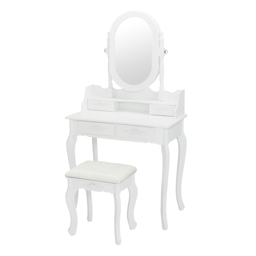 Dressing Table With Mirror And Stool 4 Drawers Adjustable Vanity Table Set Makeup Dresser Bedroom Furniture