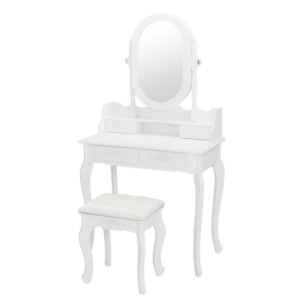 Dressing Table With Mirror And Stool 4 Drawers Adjustable Vanity Table Set Makeup Dresser Bedroom Furniture Dressers Aliexpress