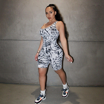 Hugcitar 2020 sleeveless tie dye print sexy bodycon playsuit summer women fashion streetwear outfits body romper