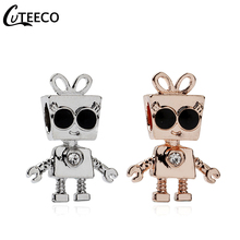 CUTEECO 2019 New Little Bella Robber With Sunglasses DIY Charm Beads Fit Pandora Bracelet For Women Jewelry Accessories