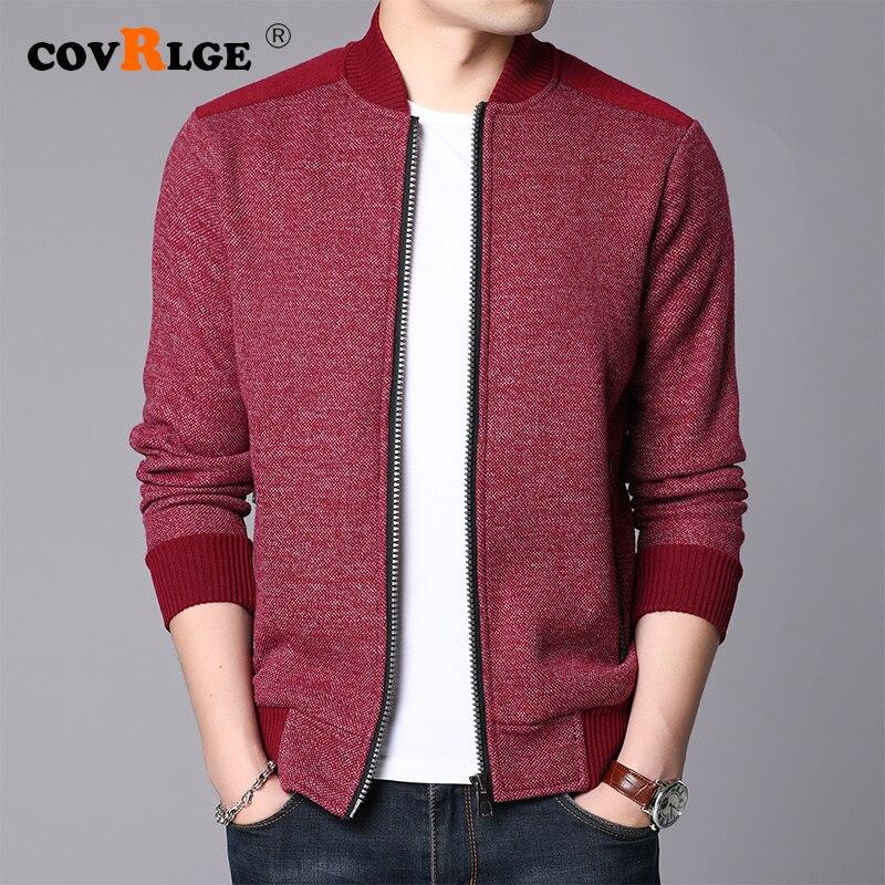 Covrlge Winter Thick Warm Sweater Coat Men Cardigan Jumpers Men Solid Cashmere Wool Liner Zipper Fleece Coats Men MWK013