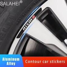 4 unids/set de decoración de Metal coche pegatinas para Nissan Tiida y Teana de Juke Xtrail de Almera Qashqai ruedas de coche de curva calcomanías