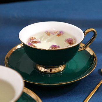 Tazas y platillos creativos de cerámica verde, juegos de té sencillos de porcelana, Tazas de café Para habitación, utensilios de cocina Para café