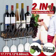 Wine-Rack Hanging-Holder Goblet Home-Bar Wall-Mounted with Cork-Tray 2-In-1 Storage-Organizer