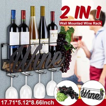 Wine-Rack Storage-Organizer Home-Bar Glass with Cork-Tray 2-In-1 Hanging-Holder Decor