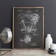 Impresión del arte del Motor, Motor, decoración de la pared del Motor, decoración del Motor, arte de las piezas del coche, arte de la pared del Motor, Vintage, Vintage