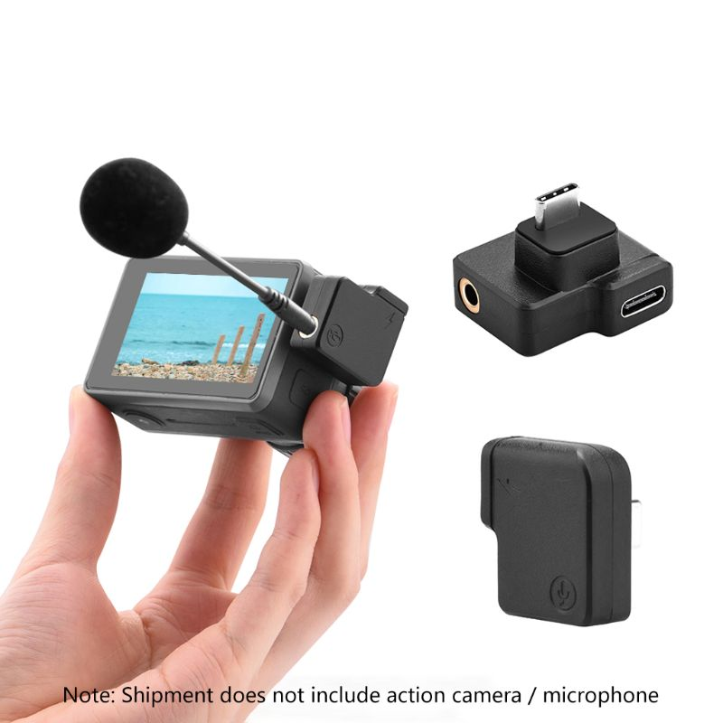 3.5mm Audio Adapter External Mic Mount Plug for DJI O-SMO Action Camera Microphone