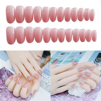 Pure Color Fake Nails 24 pieces Fake false Sticker Matte 3D DIY Fashion Style Plastic Art Nail Tips With Glue Gel Nail Art parts image