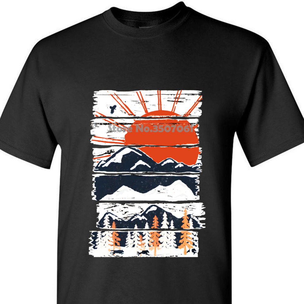 Vintage Landscape Plan Black Classical Scenery Mountain Rivers T Shirt Winter Pursuits Japanese Fuji T Shirt For Men Coat Tops