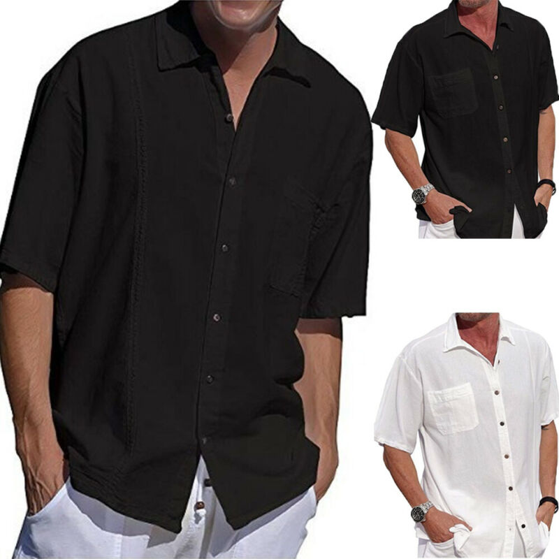 Casual Pure Color Men's Shirts Turn-down Collar Button Summer Short Sleeve Tops Solid Cotton Linen Loose Beach Harajuku Shirts