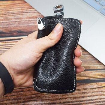 Genuine Leather Key Wallet Men Keychain Holder Pouch Purse Zipper Designer Car Key Case Multifunction Door Keys Housekeeper Bag