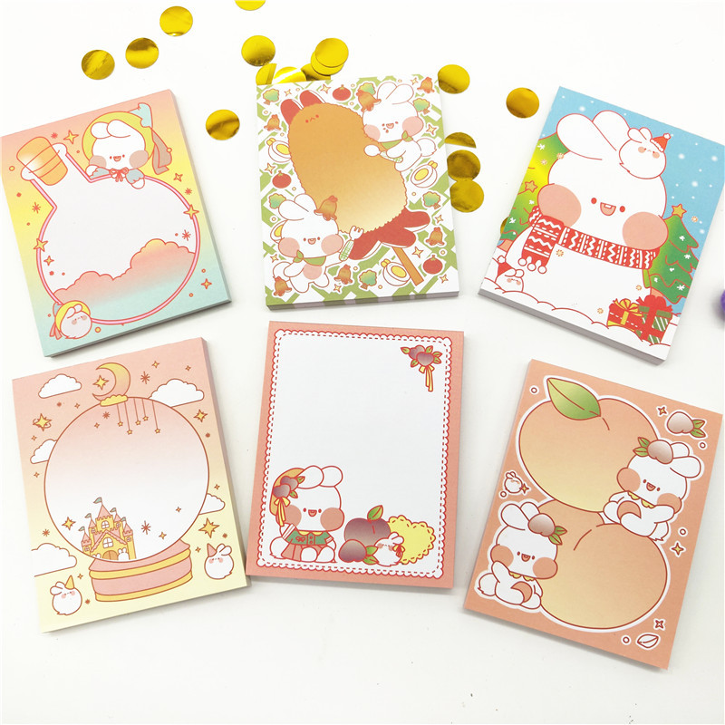 Cute Fat Rabbit Notepad Kawaii Cartoon Memo Pad School Supplies Paper Korean Stationary Office Decoration Accessories