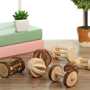 """Image 3 - Милые натуральные деревянные игрушки кролики сосновые гантели деревянная игрушка """"шар"""" роликовые игрушки Жвачки для морских свинок крысы маленькие домашние моляры"""