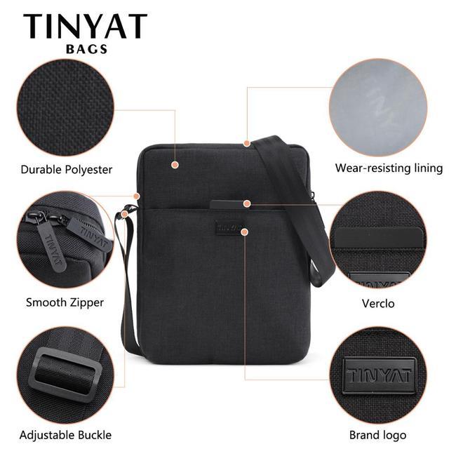 TINYAT Men's Bags Light Canvas Shoulder Bag For 7.9' Ipad Casual Crossbody Bags Waterproof Business Shoulder bag for men 0.13kg 4