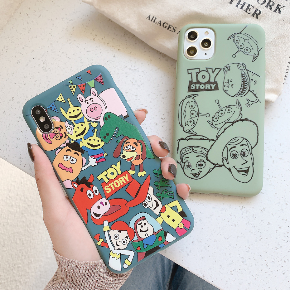 Cartoon Cute <font><b>Toy</b></font> <font><b>Story</b></font> Case for <font><b>iPhone</b></font> <font><b>XR</b></font> 11 Pro XS Max X Phone Case for <font><b>iPhone</b></font> 8 7 6 6S Plus Anime Thick Soft TPU Cover <font><b>Coque</b></font> image