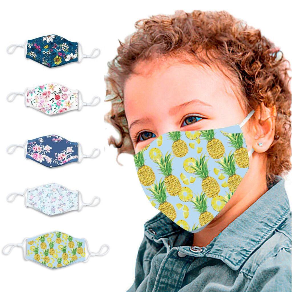 5PCS Kids PM2.5 Mouth Maske Pineapple Flower Pattern Print Face Maske Cover Dustproof Kids Washable Mouth Face Maske Respirator