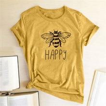 Gelukkig Gedrukt Bee Soort Vrouwen T-shirt O-hals Katoen Korte Mouw Casual Shirts Vrouw Dames Zomer Grafische Tees Tops Kleding 2020