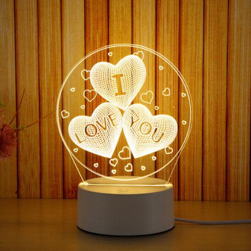 LED Night Lights 3D Small Table Lamp Girlfriends Birthday Christmas Gift Novel Bedroom Bedside Lamp 85-265V Input Free Shipping