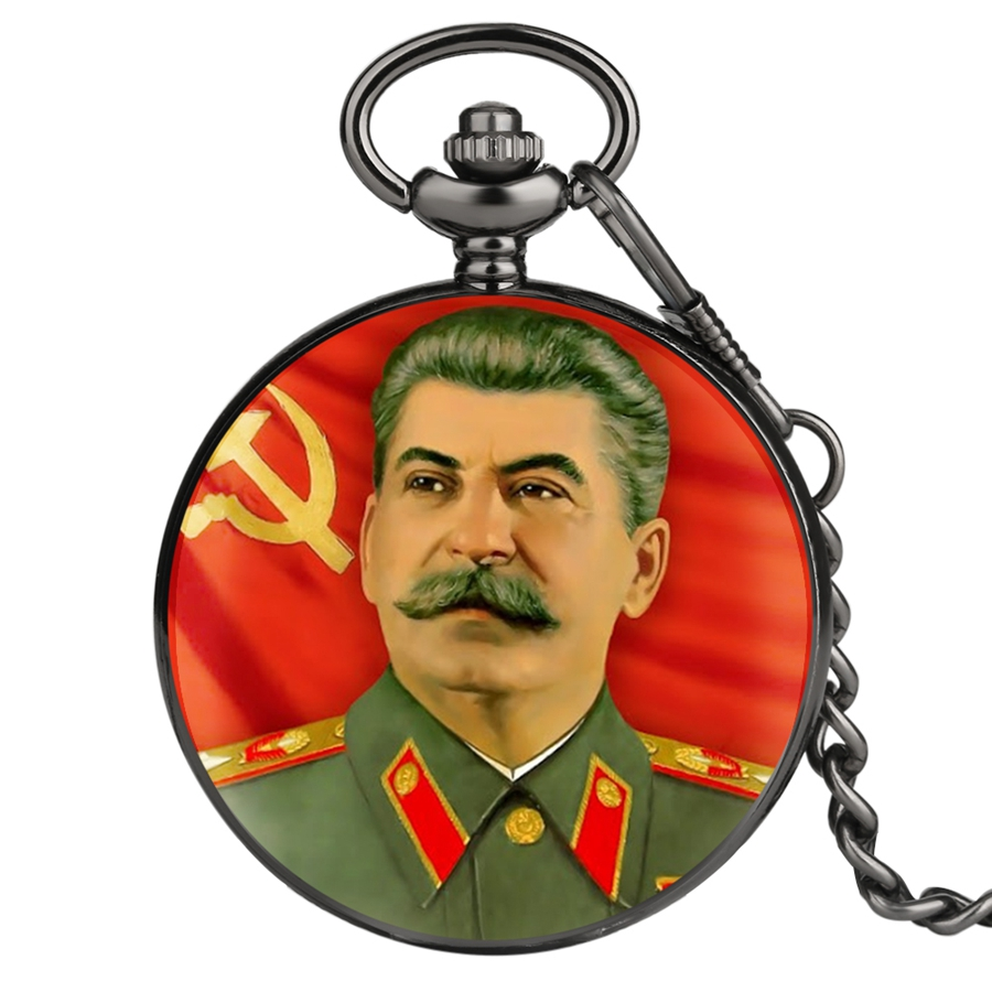 Soviet Hero Portrait of Stalin of Russia's Leader Quartz Pocket Watch Soviet Sickle Hammer Style Chain Pendant Fob Clock Gifts