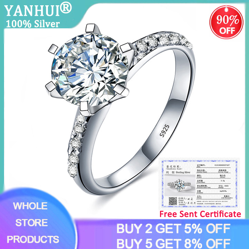 90% OFF! With Certificate Luxury 100% Original 925 Solid Silver Ring Topaz 2ct Zirconia Diamond Wedding Rings Bride Fine Jewelry(China)