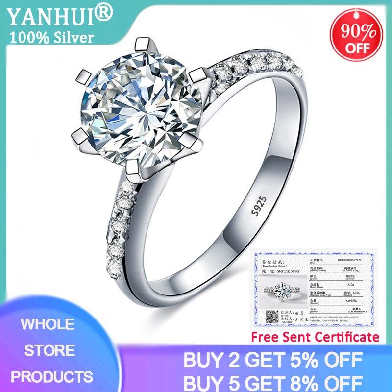 Anel de Prata Anéis de Casamento 90% de Desconto! com Certificado de Luxo Sólida Topaz Zircônia Diamante Noiva Joias Finas 100% 2ct