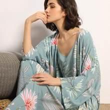 July's Song 3 Pcs Women Pajamas Set Viscose Floral Printed Female Pyjama Loose Sleepwear Nightwear Spring Summer Lounge Wear