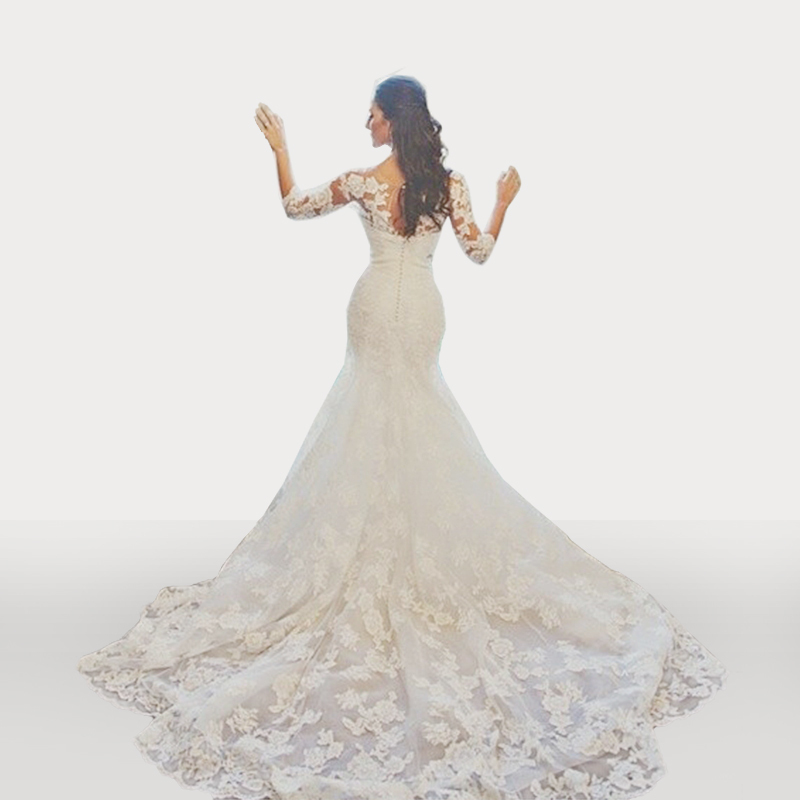 Classic Lace Mermaid Sweetheart Bridal Gown Vestido De Novia With Detatchable Long Sleeves Top Mother Of The Bride Dresses