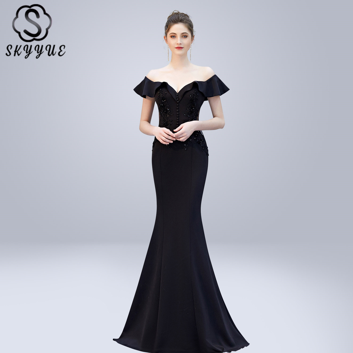 Skyyue   Evening     Dress   V-neck Crystal Women Party   Dresses   Backless Zipper Robe De Soiree 2019 Off The Shoulder Formal Gowns C270
