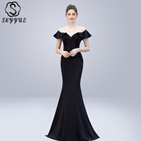Skyyue Evening Dress V neck Crystal Women Party Dresses Backless Zipper Robe De Soiree 2019 Off The Shoulder Formal Gowns C270