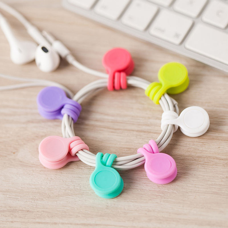Silicone Magnet Coil Earphone Cable Winder Headset Type Bobbin Winder Hubs Cord Holder Cable Wire Storage Organizer 1PC
