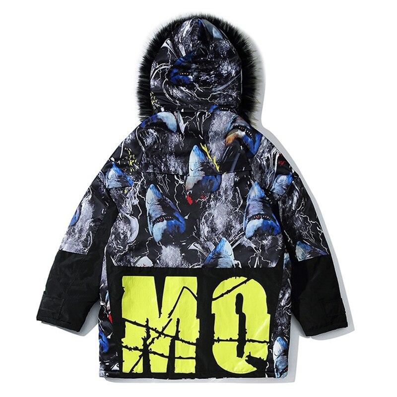 Мужская зимняя куртка с капюшоном с принтом акулы, 2019, Мужская Толстая теплая парка в стиле хип хоп, мужская повседневная куртка в стиле пэчв... - 6