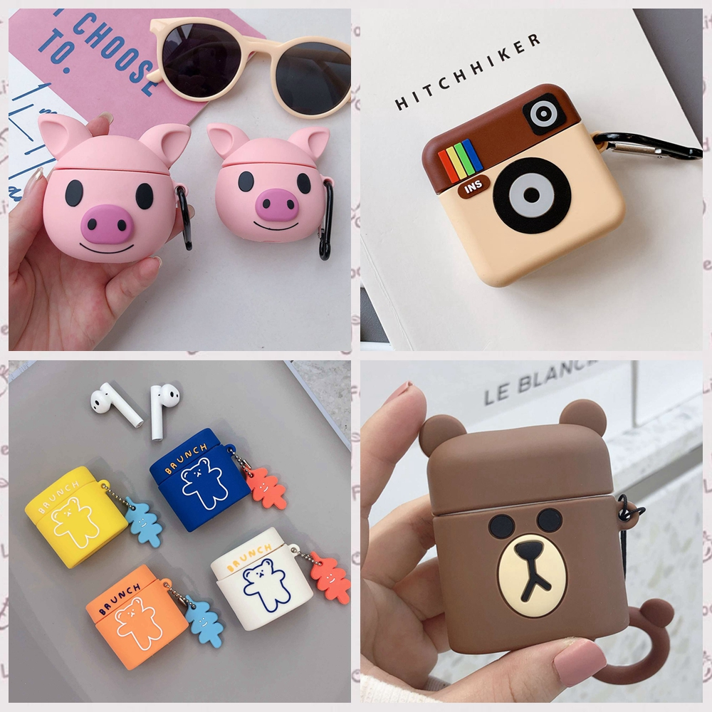 For Xiaomi Airdots Pro 2 Case Cute Lovely Bear/Pig Cartoon Silicon Flower Keychain Headphone Case For Xiaomi Mi Air 2 Cover