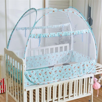 Newborn Baby Mosquito Net Bi-parting Foldable Mongolian Yurt Mosquito Netting Infant Crib Tent Cartoon Netting Canopy 3 Colors
