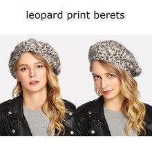 Winter Hat Rabbit-Hair Leopard-Print Beret Japanese-Hat Female Korean Thick Fashion Warm