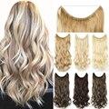 Soowee 16 цветов Длинные Черные Серые светлые синтетические волосы термостойкие шиньоны леска гало невидимые волнистые волосы для наращивания