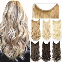 Soowee 16 cores longo preto cinza loira cabelo sintético resistente ao calor hairpieces peixe linha de halo invisível ondulado extensões do cabelo