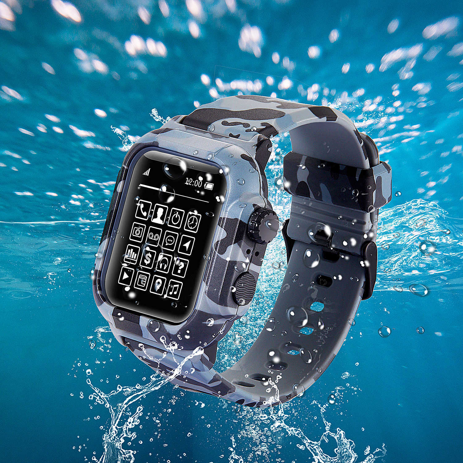 Waterproof case For <font><b>Apple</b></font> <font><b>Watch</b></font> <font><b>42mm</b></font> band iwatch Silicone Strap 44mm wrist <font><b>pulseira</b></font> Bracelet smart <font><b>watch</b></font> Accessories loop image