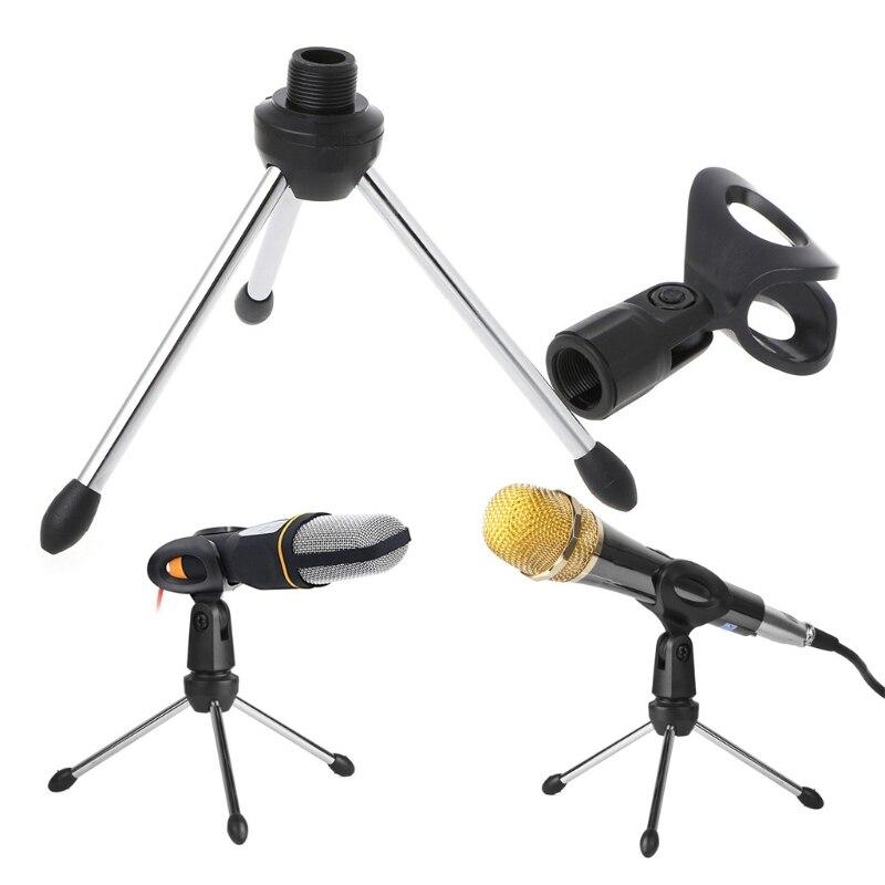 Folding Adjustable Desktop Handheld Mic Microphone Clip Holder Stand Tripod A-1