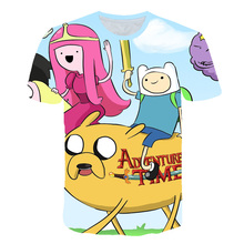 Summer T-shirt Boys and Girl Cartoon Jake The Adventure Time Psychedelic 3D Color Printing Top Finn 4T-14T