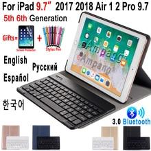 Englisch Russisch Spanisch Tastatur Fall für Apple iPad 9,7 2018 2017 Fall A1822 A1893 5th 6th Generation Bluetooth Tastatur Abdeckung