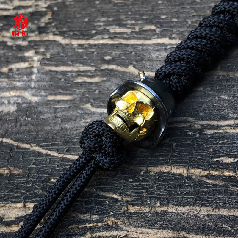 1 pièces 925 argent laiton crâne couteau perles à la main EDC parapluie corde couteau perles collier tête pendentif crâne peut être actif - 3
