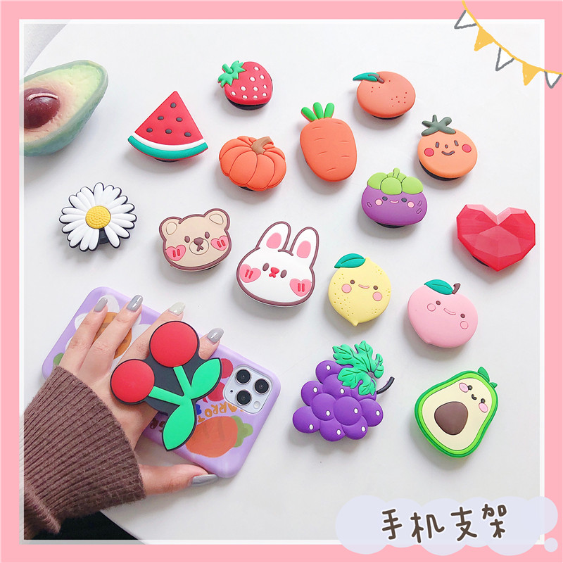 Cute Mobile Phone Fruits Folding Stand For IPhone 11 For Samsung For Huawei Cases Funny Cartoon Cherry Grip Kichstands Holder